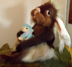 Eyes Of Time: Making fuzzy Mohair critters and needle felting with reverse barbs