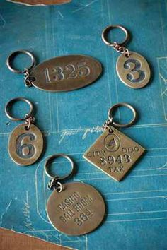 Heavy Solid Antiqued Brass Key Chains by Vagabond Vintage