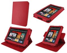 rooCASE Dual-View Multi Angle (Red) Genuine Leather Folio Case Cover for Amazon Kindle Fire 7-Inch Android Tablet :G