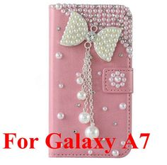 Pink Bling Luxury Diamond PU Leather Case Flower Flip Wallet Case Cover For Samsung Galaxy A3 A5 A7 Fashion Woman Phone Cases