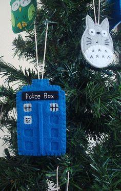 TARDIS and Totoro felt ornaments #totoro #TARDIS #doctorwho | http://cosplaycollections832.blogspot.com