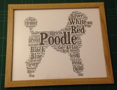New design Poodle unique word art framed print 10 x 8 (approx) | eBay