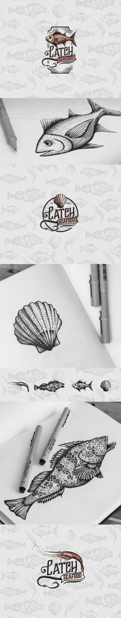 Logo design and visual identity for seafood restaurant.