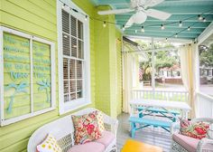 Porch ceiling to match door- Perfect wow factor for a front porch at a beach cottage