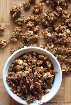 Homemade gluten-free, grain-free, paleo-friendly granola. No oats here! Just almonds, cashews, pistachios, coconut, pumpkin seeds, and flax seeds.