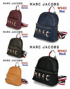 *Bag Ransel Marc Jacob W9412* Bahan         : Kulit Sintetis Kualitas      : Semi Premium Ukuran        : 29cm x 13cm x 32cm Berat         : ±0.7Kg 5 Warna       : Black, Blue, Brown, Green, Maroon Harga   : Rp.230.000