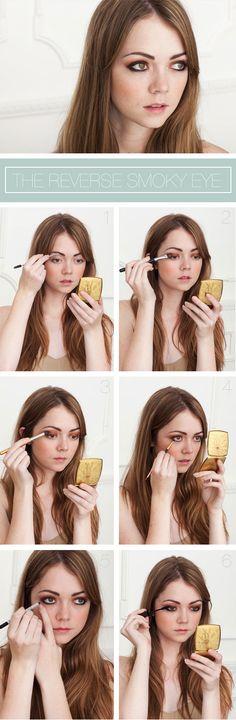 The reverse smoky eye (dark lid, light crease). Use dark brown and copper eyeshadows. @The Beauty Department #makeup #eyeshadow