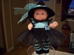 """Berenguer 5"""" Baby Dolls - Witch with striped socks # 94   More can be seen on Pinterest under Jana Langley Berenguer 5"""" Dolls with crocheted outfits"""