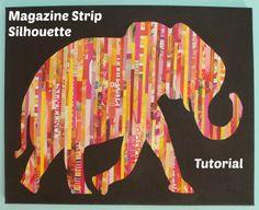 Apples of Gold: Magazine Strip Silhouette Tutorial  Mega aufwendig  Tipp 1: Papier Schredder benutzen Tipp 2: Pappe in gewünschter Form zuschneiden und Streifen dort drauf kleben. Danach kann man mit der Schere den Rest abschneiden und die Silouette immernoch auf eine Leinwand kleben.