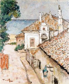 Street in Balchik , oil / canvas. (the artist ? Oil Canvas, Canvas Art, Painting Canvas, Lovers Art, Museum, Bulgarian, Matisse, Romania, Painters