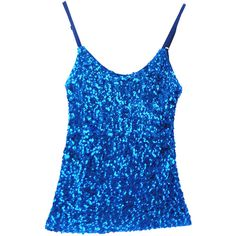 Blue Slimming Ladies Sleeveless Strap Sequined Camisole Top (17 CAD) ❤ liked on Polyvore featuring tops, sequin tank, sleeveless tops, slimming tank top, blue sequin tank top and cami tank tops