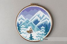 Winter landscape cross stitch pattern, modern cross stitch pattern, PDF, instant download