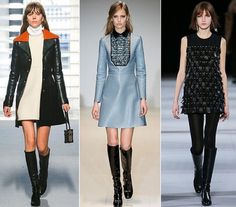 Back to the Sixties with mini-skirts, trapeze dresses, patent Mary-Janes, graphic bobs and pastel colors http://www.mydesignweek.eu/fashion-trends-for-fallwinter-2014-2015-by-vogue/#.VBwvuPldVpu