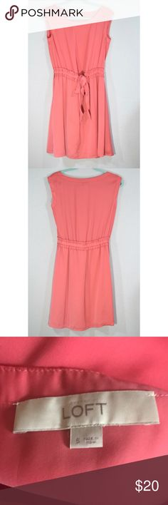 """LOFT Pink Tie Dress Silky and super soft. Length is 37"""" 19"""" pit to pit. No zipper. Stretchy around stomach and ties. LOFT Dresses Midi"""