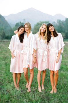 Beautiful girls in blush ombre. What do you wear to get ready? Fun idea for bridal party. www.PlumPrettySugar.com #wedding #mybigday