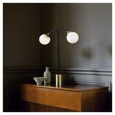 "styletaboo: "" CTO Lighting - Array Twin table lamp [brass, bronze, opal glass] """