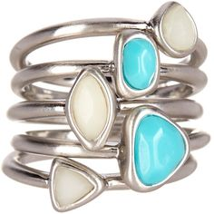 Karen Kane Tropical Stacked Ring Set - Size 8 ($19) ❤ liked on Polyvore featuring jewelry, rings, blue, blue jewelry, karen kane, stackable rings, blue ring and stackers jewelry