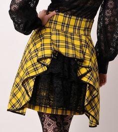 Plaid High Waist Steam Punk Bustle Mini Skirt Yellow Black
