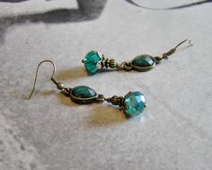Teal Crystal Dangle Earrings with Antique Gold by SmockandStone, $13.00