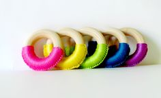 #Rainbow #Crochet Wooden #Teething Rings , Simple #Baby Teething #Toy , pick a color , Ready To Ship by FairyOfColor on #Etsy