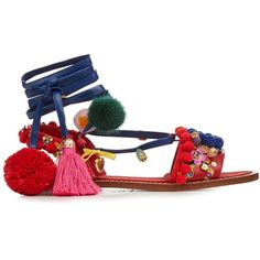 Dolce & Gabbana Pompom-embellished leather flat sandals ($688) ❤ liked on Polyvore featuring shoes, sandals, flats, red multi, leather sandals, embellished flats, flat pumps, red shoes and red flat sandals