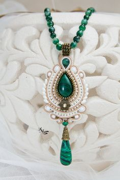Soutache jewelry Green-Beige colour necklace от AMdesignSoutache  Alina Mihailov