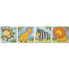 Zoo Animals 4 Piece Graphic Art Plaque Set
