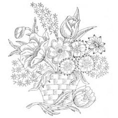 Pattern Detail | Large Basket of Flowers | Needlecrafter...this site has dozens of free hand embroidery patterns