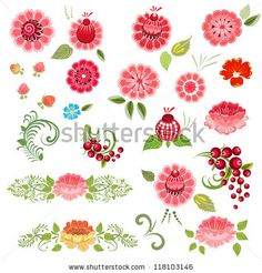 Khokhloma floral set by Oksana Merzlyakova, via ShutterStock