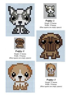 perler bead patterns puppy pound | Puppies / Puppy / Dogs - cross stitch or Hama beads pattern