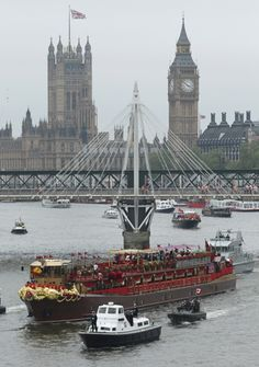 The Royal Barge As It Sails Up The River Thames