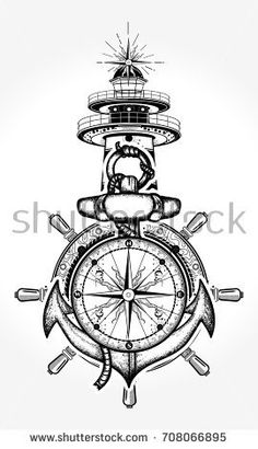 Lighthouse and compass tattoo and t-shirt design. Symbol of maritime adventure, tourism, travel. Old anchor and lighthouse t-shirt design