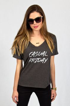 """Casual Friday"" Tee Dark grey, super soft tshirt, women, fashion, California, messy hair Salt & Pepper Tees"