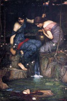 Nymphs finding the head of Orpheus- John William Waterhouse #preraphaelite