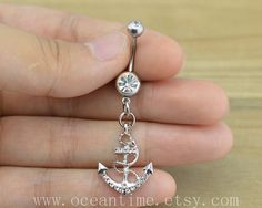 Anchor Belly Button Rings,anchor Navel Jewelry,bling anchor belly button ring, navy ring,summer jewelry on Etsy, $6.99