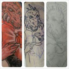 my newest tattoo. ♡ he is risen. #larfleeze #avarice #orange #lantern #agentorange #dccomics #comics #comicbooks #greenlantern #brightestday #blackestnight #tattoo #tattoos #jesus #jesuschrist #easter #sacredheart #sacred #heart