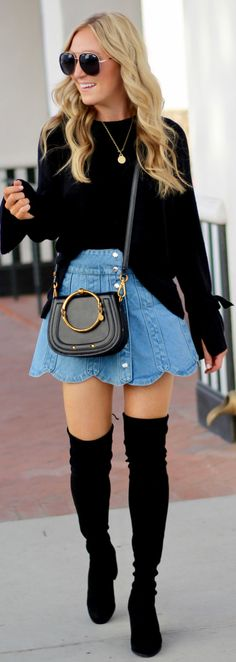 #winter #outfits black long-sleeve jacket, blue-denim shirt, and pair of knee-high boots outfit
