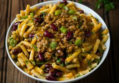 Curried Mince & Bean Pasta: who could resist this delicious bowl of comfort on a chilly night? Pasta And Mince Recipes, Easy Pasta Recipes, Easy Dinner Recipes, Meat Recipes, Recipies, Quick Meals To Make, Easy Meals, Curry Pasta, Family Meals