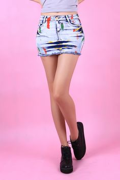 Painted Jeans Skirt :