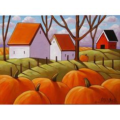 PAINTING ORIGINAL Folk Art Cottage Road Colorful by SoloWorkStudio
