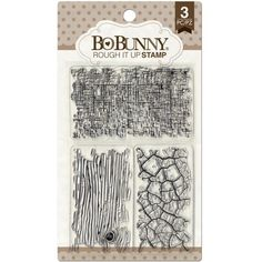 £4.99    Beautiful 3 piece clear stamp set from Bo Bunny with texture stamps