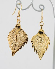 Gold Dipped Real Birch Leaf Earrings by MaryMorrisJewelry on Etsy, $28.00 #Leaf #earrings