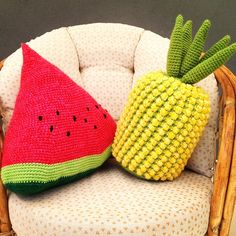 Cojines de frutas a crochet