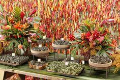 Para acompanhar o ritmo e a energia contagiante de um casal baiano em seu chá bar, escolhemos diversas cores em arranjos e detalhes na mesa de doces com 8 sabores de brigadeiro!