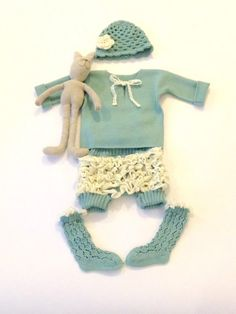 Baby Baptism gown 4 piece set crocheted hat with by MarumaKids