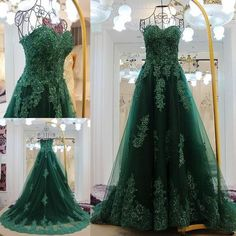 AHS063 New Arrival Strapless Green Tulle Prom Dresses with Appliques 2017