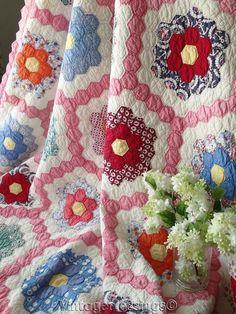 "Gorgeous! Vintage 30s Pink Grandmothers Flower Garden QUILT 92"" x 70"""