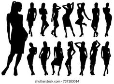 Woman Silhouette, Dress Silhouette, Pinup, Dress Stand, Female Poses, New Pictures, Royalty Free Photos, Graphic Illustration, Bikini Girls