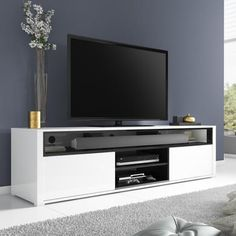 Evoque White High Gloss TV Unit With Soundbar Shelf