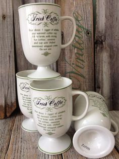 Vintage Irish Coffee Mugs Cups With Recipe on by KatiesAngelwings, $25.00